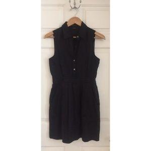 Theory Black Neith Linen Sleeveless Shirtdress